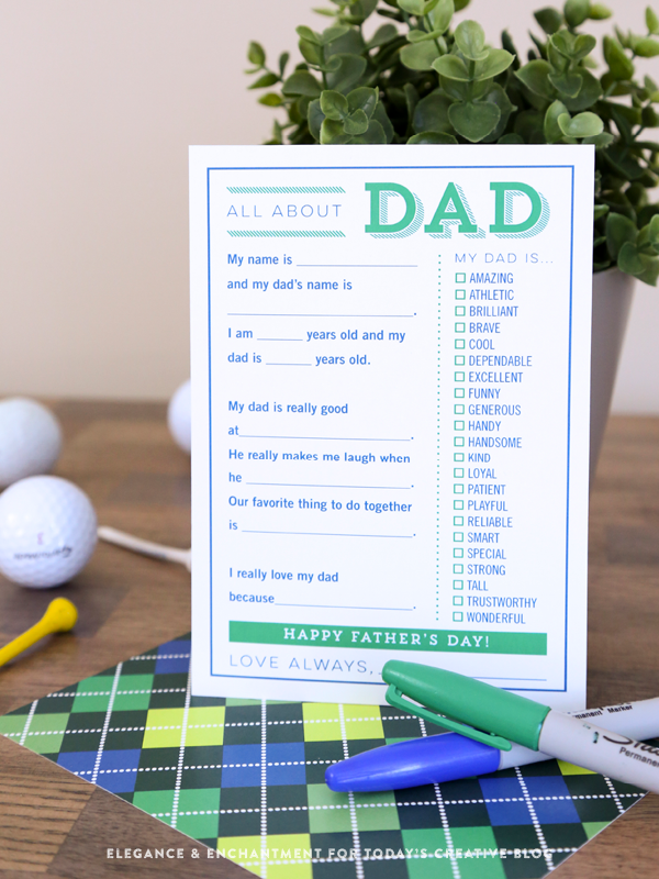 image about Father's Day Fill in the Blank Printable titled Printable Fathers Working day Fill in just the Blank Card