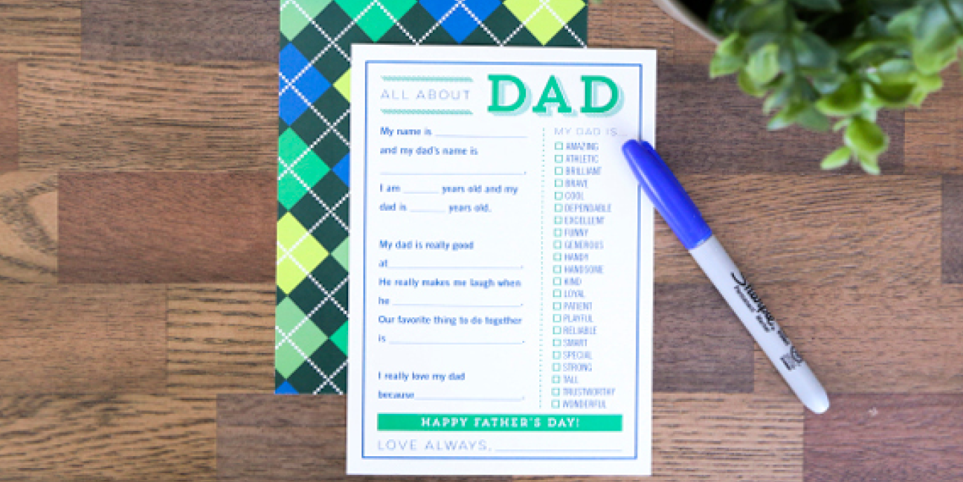Printable Father's Day Fill in the Blank Card