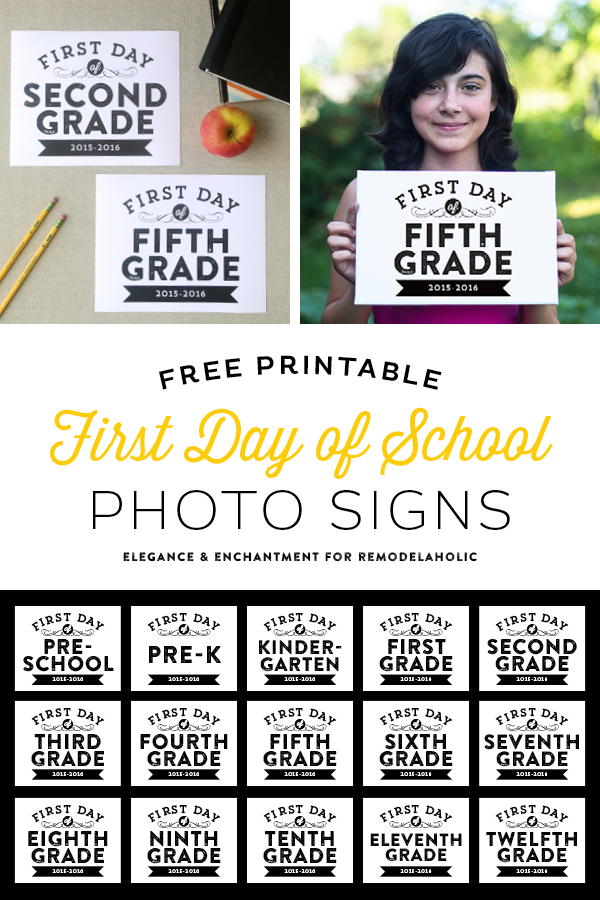 Intrepid image within first day of school sign printable