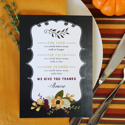 Printable Thanksgiving Prayer Cards