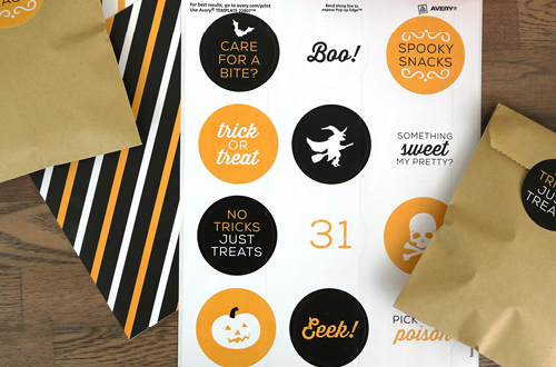 Free Printable Halloween Stickers - six different designs for Halloween parties, crafts, DIY projects or in the classroom! Use with Avery stickers or your own adhesive paper. Designs by Elegance and Enchantment.