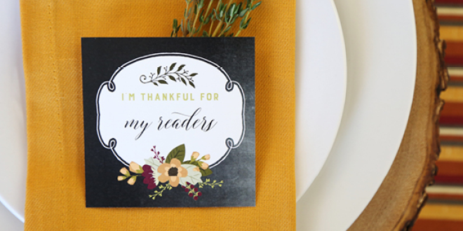 """I am thankful for"" Printable Thanksgiving Cards"