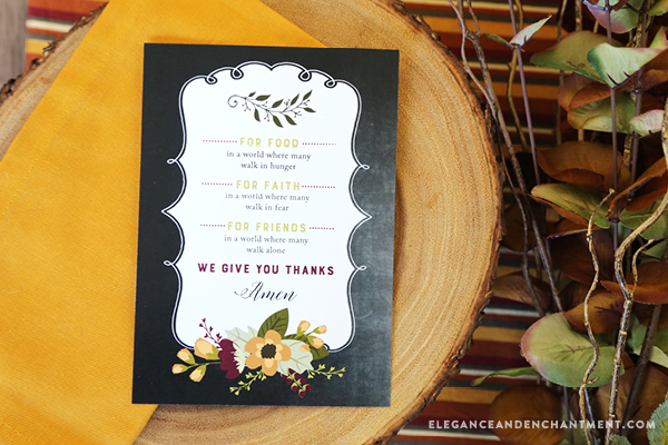 Free Printable Prayer cards for Thanksgiving dinner or to use as an art print in your home. Print cards to hand out to everyone at your table and share your gratitude with one another! Designs by Elegance and Enchantment.