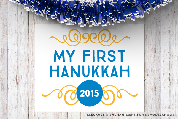 Create memorable and professional looking photos with these free printable Baby's First Holiday Signs! Designs for Thanksgiving, Christmas and Hanukkah 2015 and the 2016 New Year are included in this free download from Elegance and Enchantment for Remodelaholic.