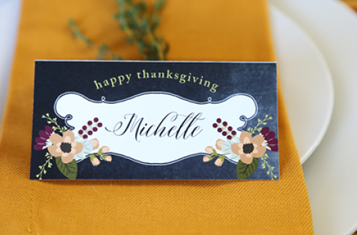 Free Printable Thanksgiving place cards in a pretty chalkboard style. The PDF is editable so you can either type in your own text, or hand write in your names the blank space provided. Designs by Elegance and Enchantment for Today's Creative Life.