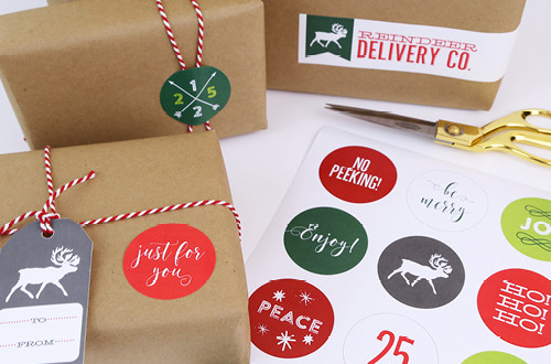 "Free Printable Christmas Stickers make holiday wrapping and packaging easy and fun! Simply download these free designs and print using Avery 2"" round labels, Avery wrap-around labels, or your own paper! Designs from Elegance & Enchantment."