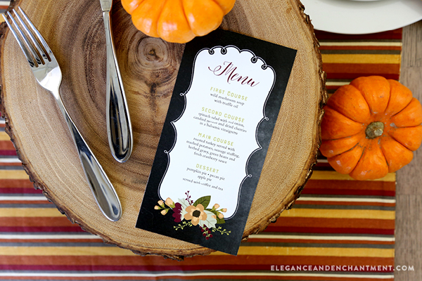 Free Printable Thanksgiving Menu cards in a pretty chalkboard style. The PDF is editable so you can either type in your own text, or hand write in your menu items the blank space provided. Designs by Elegance and Enchantment.