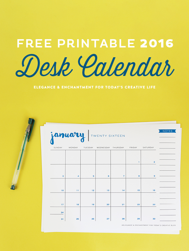 Free Printable  Calendar  Elegance  Enchantment