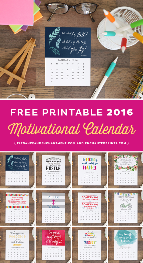 Download this free printable desk calendar for 2016! Each month boasts a unique design with an encouraging quote to keep you inspired and encouraged all year long. The size of each card is 4.25 x 5.5 and makes a great addition to any desk or workspace. // Designs from Elegance & Enchantment and Enchanted Prints