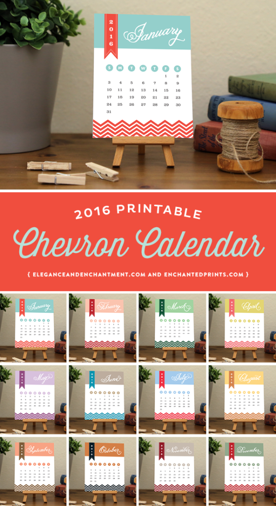 2016 Chevron Desk Calendar, available in printable or printed format. Each month boasts a unique color palette to keep you smiling all year long. The size of each card is 4.25 x 5.5 and makes a great addition to any desk or workspace. // Designs from Elegance & Enchantment and Enchanted Prints