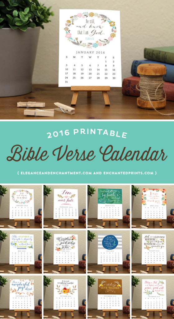 2016 Bible Verse Desk Calendar, available in printable or printed format. Each month boasts a unique design with an encouraging quote to keep you inspired and encouraged all year long. The size of each card is 4.25 x 5.5 and makes a great addition to any desk or workspace. // Designs from Elegance & Enchantment and Enchanted Prints