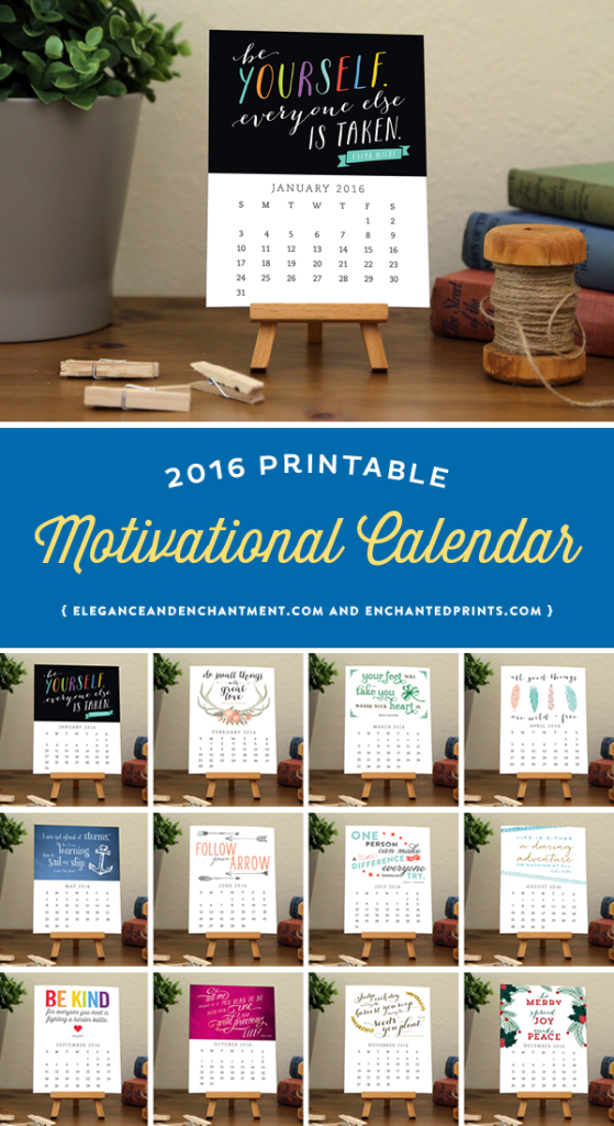 2016 Motivational Desk Calendar, available in printable or printed format. Each month boasts a unique design with an encouraging quote to keep you inspired and encouraged all year long. The size of each card is 4.25 x 5.5 and makes a great addition to any desk or workspace. // Designs from Elegance & Enchantment and Enchanted Prints