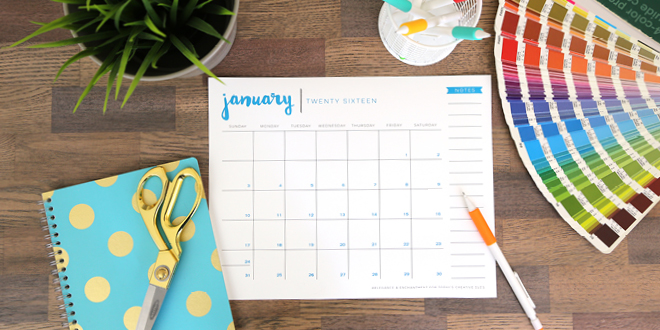 Stay organized with this totally fun, totally free 2016 printable calendar. Each month boasts a different color and space to keep track of everything in your fabulously busy and blessed life. Designs by Elegance and Enchantment for Today's Creative Life.