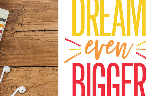 "Your weekly free printable inspirational quote from Elegance and Enchantment! // ""Dream Even Bigger."" // Simply print, trim and frame this quote for an easy, last minute gift or use it to update the artwork in your home, church, classroom or office. #enchantingmondays"
