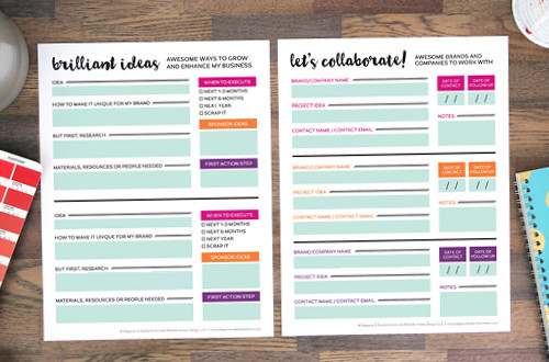 Free Printable Planning Sheets for bloggers and small business owners! Two designs are included: one for keeping track of your brilliant ideas and the other to manage potential collaborations and sponsorships. Both will get you inspired to take action and grow your business and/or blog. Designs by Elegance & Enchantment.
