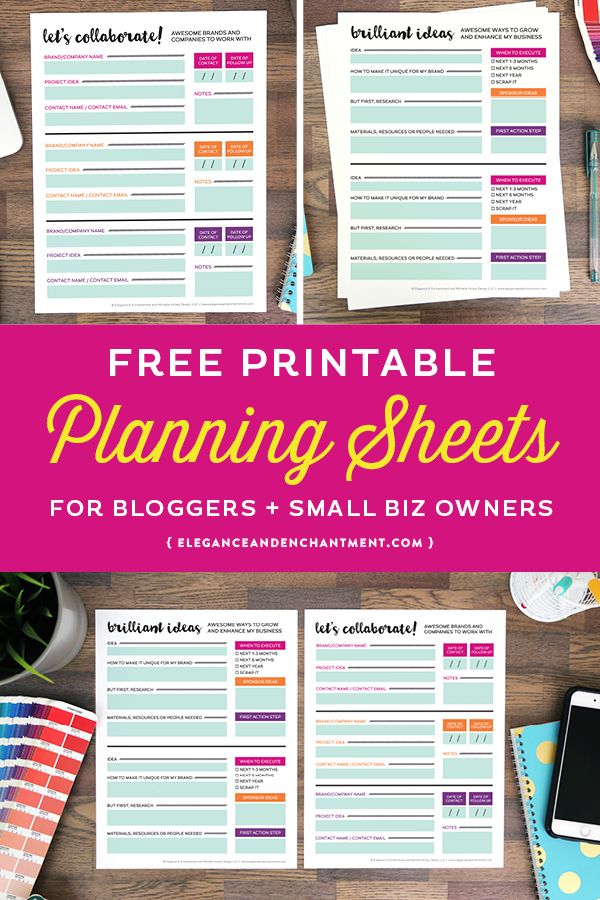 Free Printable Planning Sheets For Bloggers And Small Business Owners! Two  Designs Are Included:  Free Business Printables