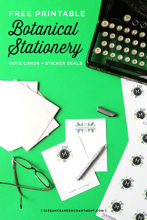 free printable botanical stationery elegance enchantment