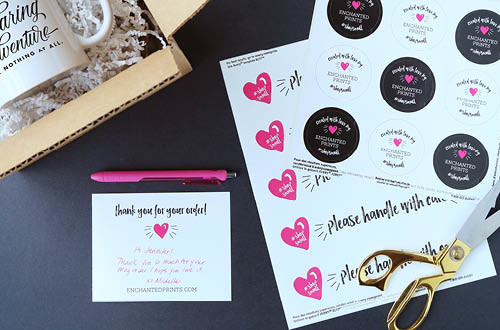 Own an Etsy shop or sell handmade goods online or at craft shows? Add professional packaging details to your shipments using this collection of free printables from Elegance & Enchantment. Included are round sealing stickers, handle with care stickers, and thank you note cards. Both the sealing stickers and thank you note cards are customizable so you can type in your own name and promote your business! // Compatible with Avery products 22807, 08217 and 8387.
