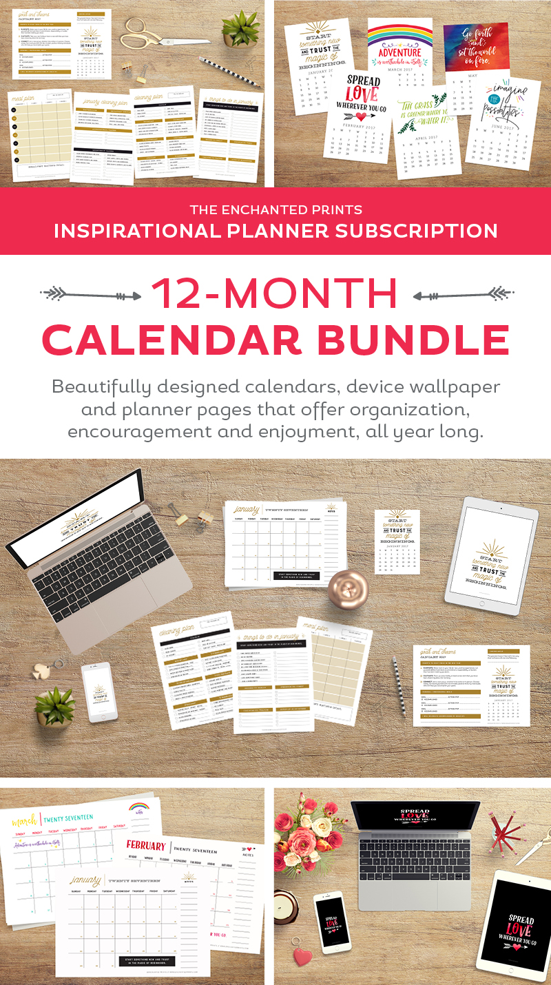 Printable calendars, device wallpaper, goal planners, meal planners, and monthly activity planners! The Enchanted Prints Inspirational Planner Subscription is designed to keep you moving toward accomplishing goals, not just in the first two weeks of the year, but month after month. With a focus on balance, the subscription includes all the tools you need to create a happy + healthy life.// Register during any month of the year, and receive the following 12 months, no matter when you sign up!