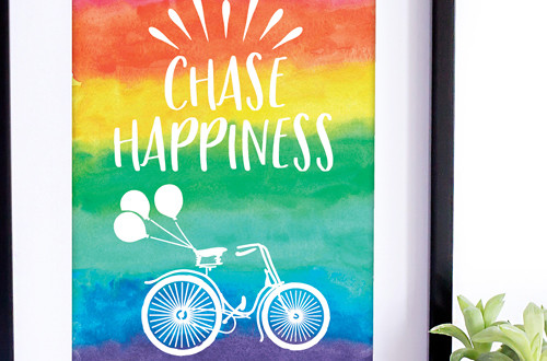 "Your weekly free printable inspirational quote from Elegance and Enchantment! // ""Chase Happiness."" // Simply print, trim and frame this quote for an easy, last minute gift or use it to update the artwork in your home, church, classroom or office. #enchantingmondays"