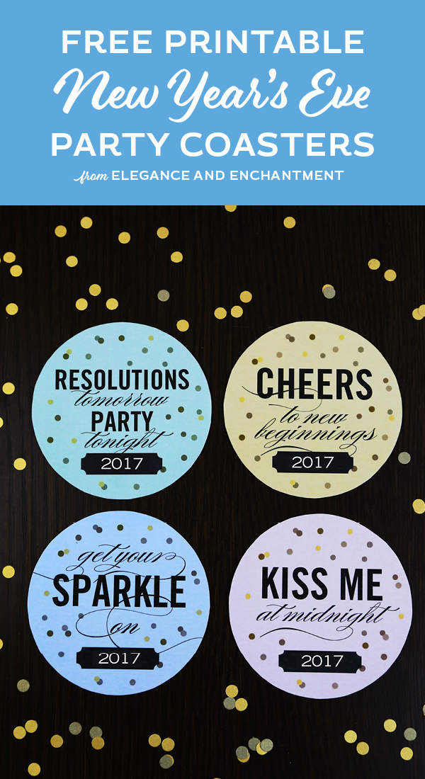Dazzle your New Year's Eve guests with these easy-to-print party coasters. Free Download from Elegance and Enchantment.