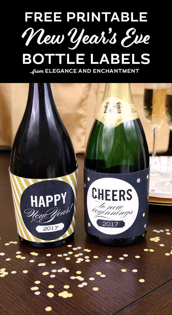 Dazzle your New Year's Eve guests with these easy-to-print bottle labels. Free Download from Elegance and Enchantment.