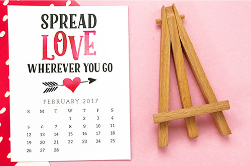 Pretty your workspace with this free printable calendar card for February 2017. New calendars, each with a unique, inspirational message, are released every month! // Design from Elegance and Enchantment.