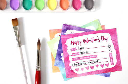 Make Valentine's Day Gift giving easy with these free printables in a pretty watercolor style. Includes printable Valentine's Day coupons + two types of stickers in four different colors. Compatible with Avery Products 22806 and 8315 for easy printing! Designs from Elegance and Enchantment.