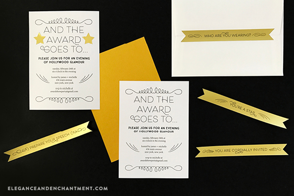 Get ready for the Oscars, Emmys, Golden Globes, Grammys and Tony Awards with these free award show party printables. Includes an editable invitation, envelope seals, star stickers and thank you sticker seals. Compatible with Avery Products 22836, 4396 and 4395 for easy printing! Designs from Elegance and Enchantment.