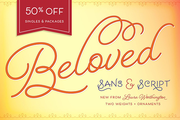 Beloved Sans and Script font from Laura Worthington