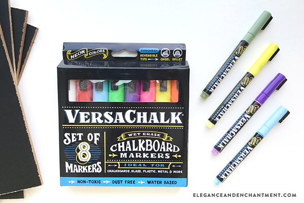 The easiest, cleanest, safest, and most fun way to create chalkboard projects: Versachalk! These colorful chalkboard markers allow you to create tons of artwork + gifts— plus provide a great activity for the kids. In this post, you'll learn how to take a piece of printable art and transfer it to a chalkboard, mess free. // From Elegance and Enchantment, in partnership with Versachalk.