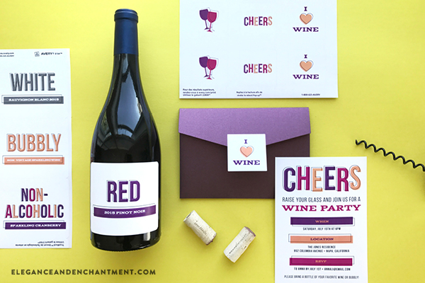 Hosting a Wine Party? Download all of these party goodies for free! Includes printable stickers, a printable/customizable invitation, and printable/customizable wine labels. Compatible with Avery Products 22806 and 8164 for easy printing! Designs from Elegance and Enchantment.