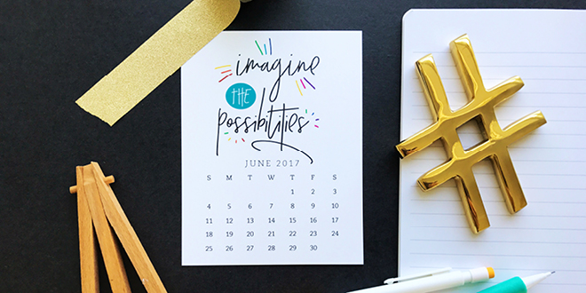 Pretty your workspace with this free printable calendar card for June 2017. New calendars are released every month! // Design from Elegance and Enchantment.