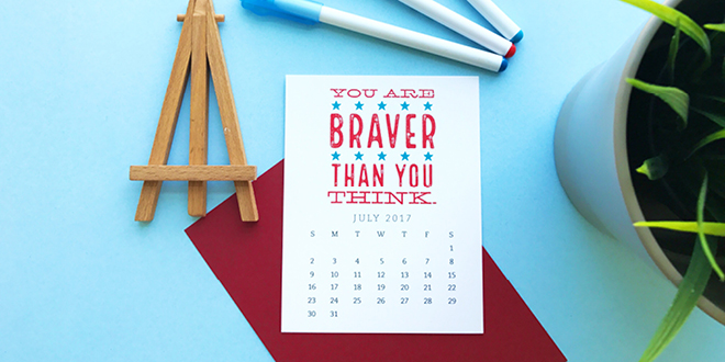 Pretty your workspace with this free printable calendar card for July 2017. New calendars are released every month! // Design from Elegance and Enchantment.