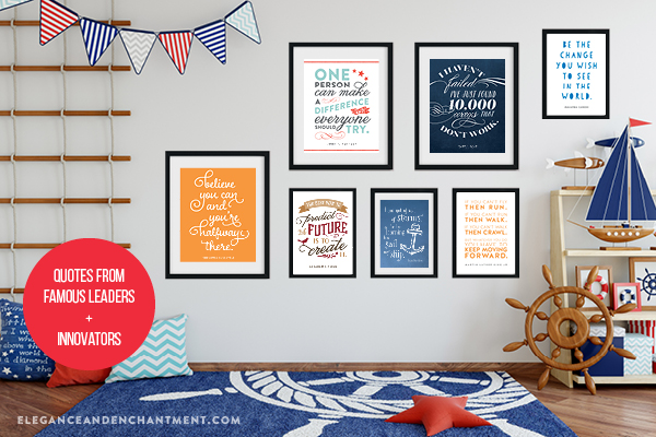 Five concepts/ideas for classroom gallery walls or bulletin board themes, using printable art. The collections featured include quotes from famous leaders and innovators, quotes about travel and adventure, quotes that inspire creativity, quotes about kindness and compassion, and even an entire display of black + white designs. // Includes a free inspirational printable in 5 x 7 and 8 x 10 so you can get started on your own gallery wall! // Designs from Elegance and Enchantment