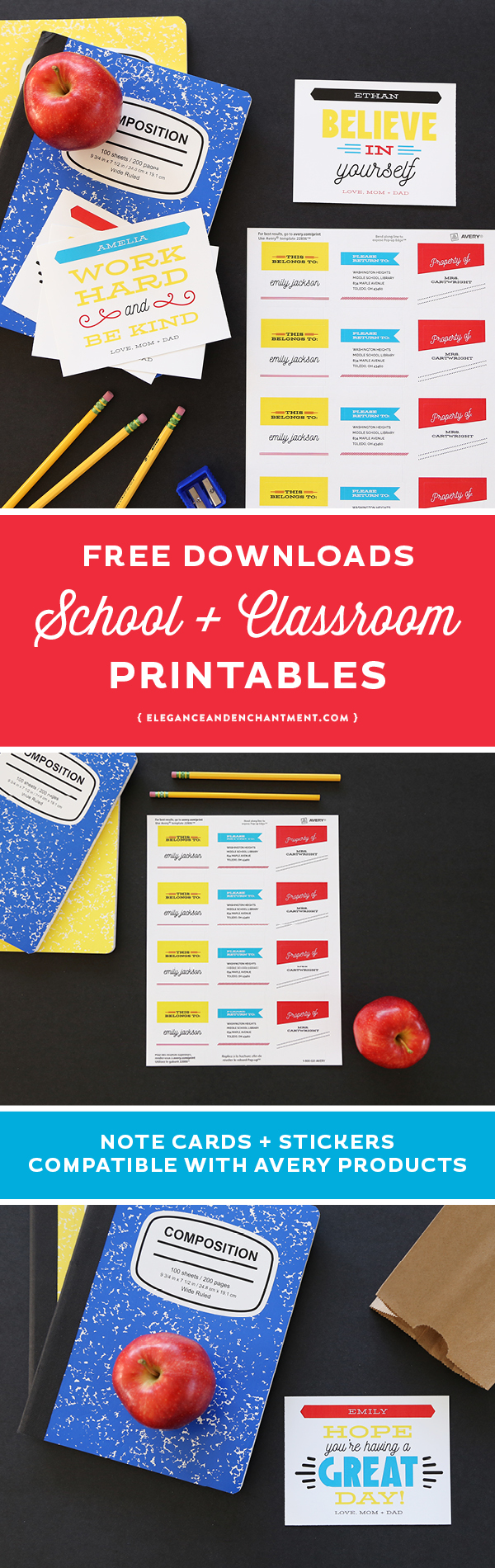 "Back to School Printables for students and teachers. Download all of these classroom goodies for free! Includes printable-customizable lunch box notes and printable ""property of"" stickers. Compatible with Avery Products 8387 and 22806 for easy printing! Designs from Elegance and Enchantment in partnership with Avery."