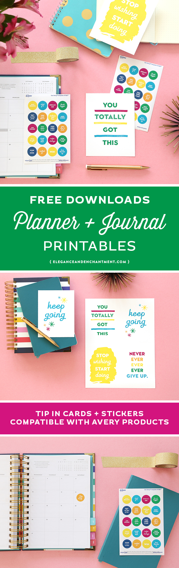 Planner and Journaling Printables for everyone who loves to plan in the prettiest way. Download all of these colorful goodies for free! Includes printable tip in cards with encouraging quotes and printable planner stickers. Compatible with Avery Products 8387 and 41568 for easy printing! Designs from Elegance and Enchantment in partnership with Avery.