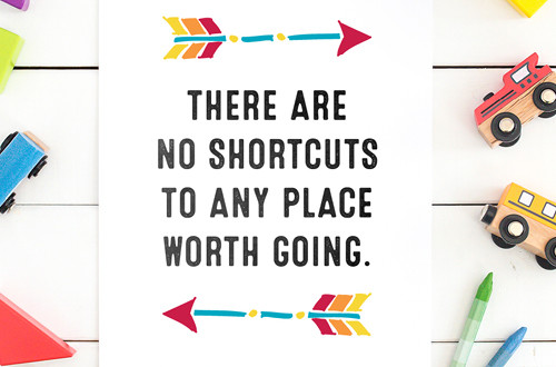 Your weekly free printable inspirational quote from Elegance and Enchantment! // There Are No Shortcuts To Any Place Worth Going. // Simply print, trim and frame this quote for an easy, last minute gift or use it to update the artwork in your home, church, classroom or office. #enchantingmondays.