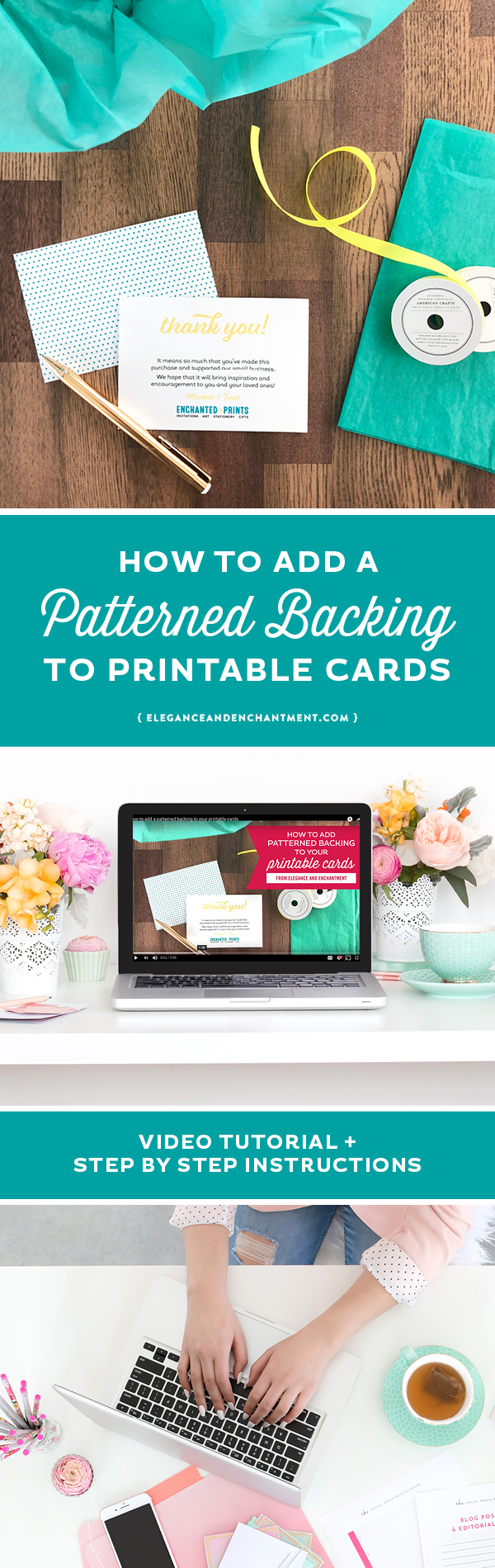 How to add a patterned backing to printable cards // Includes a video + written tutorial, from Elegance and Enchantment