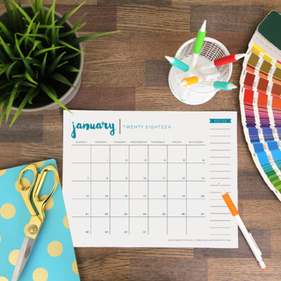 A free printable 2018 calendar download to help keep your life organized all year long. This 8.5 x 11, twelve-month PDF features a new color on every page, and requires no trimming or assembly. // from Elegance and Enchantment