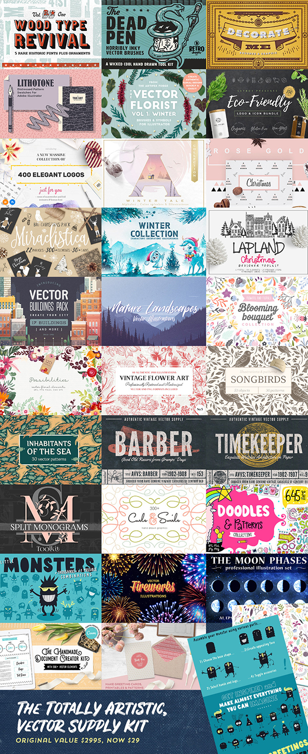 99% off of this bundle of vector graphics for a limited time, from DesignCuts