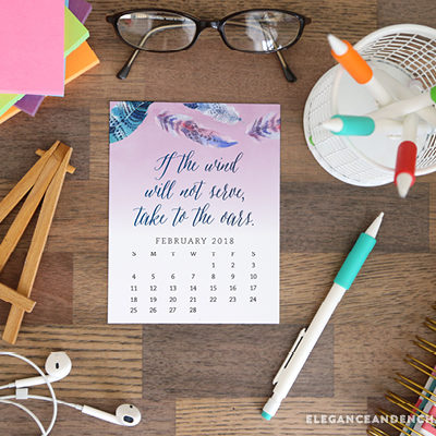 Pretty your workspace with this free printable calendar card for February 2018. New calendars are released every month! // Design from Elegance and Enchantment.