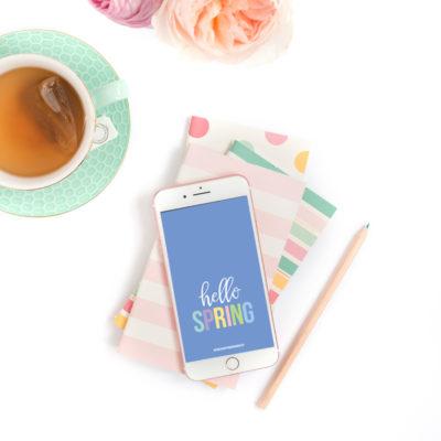 Hello Spring Printable Art + Social Graphic + Device Wallpaper