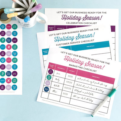 Small Business Printable Holiday Checklist and Stickers
