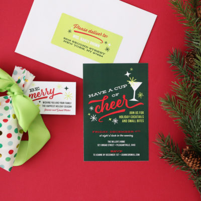 Retro Holiday Cocktail Party Printables – Invitation, Labels and Gift Tags