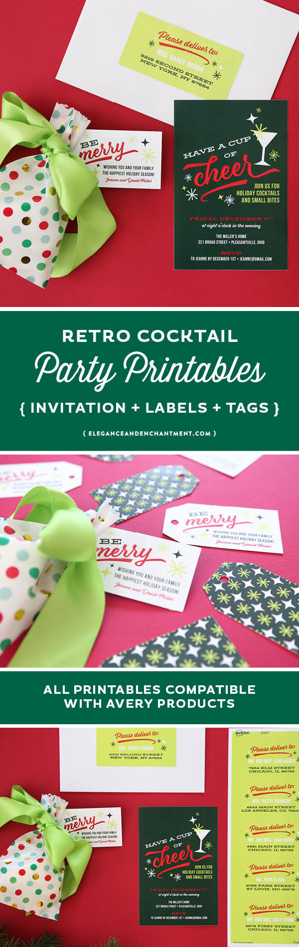 graphic relating to Printable Gift Tags Avery titled Retro Holiday vacation Cocktail Bash Printables - Invitation, Labels