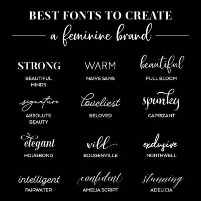 Searching for the perfect feminine font for your brand identity? Here's a roundup of twenty fabulous typefaces. // From Elegance and Enchantment
