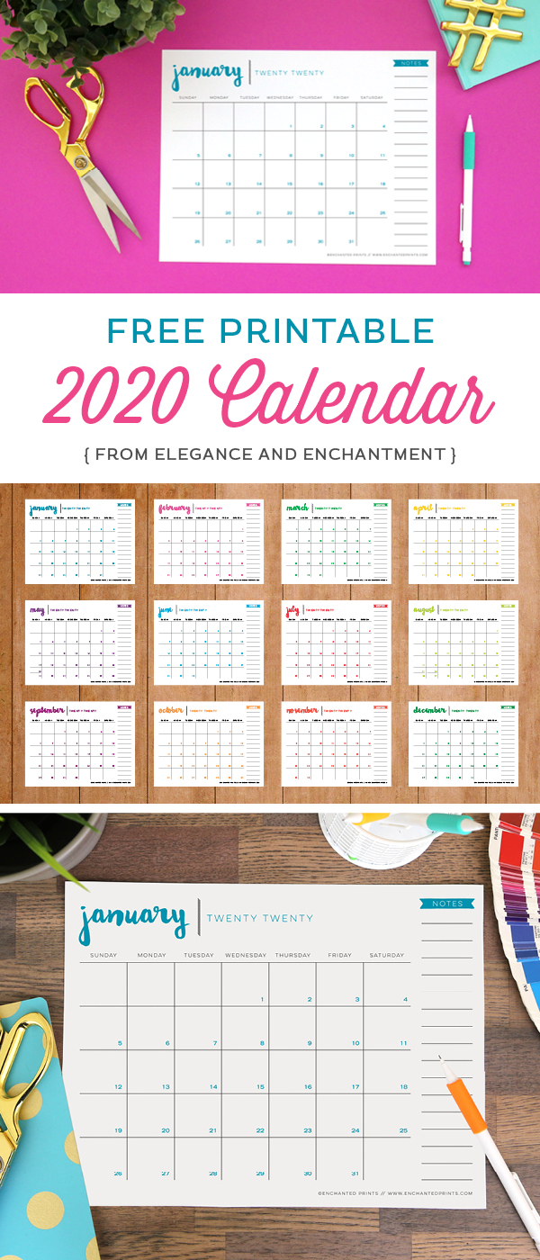 A free printable 2020 calendar download to help keep your life organized all year long. This 8.5 x 11, twelve-month PDF features a new color on every page, and requires no trimming or assembly. // from Elegance and Enchantment #calendar #12monthcalendar #freecalendar #2020calendar