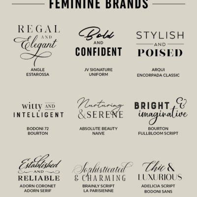 Nine font pairings for feminine brands to create logos, art prints, stationery, and more! From Elegance and Enchantment